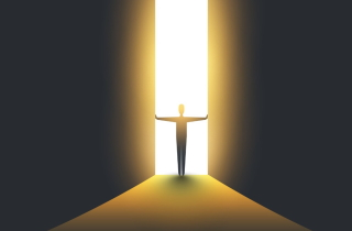 Man opening huge doors with light streaming in