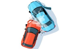 Car crash overhead view