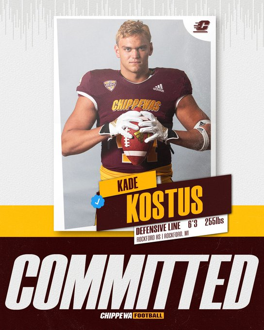 Kade Kostus has committed to Central Michigan