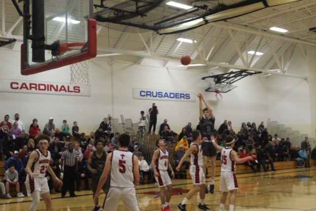 Senior forward Sam Hauxwell knocks down a jumper in the Cranes 63-50 victory over
