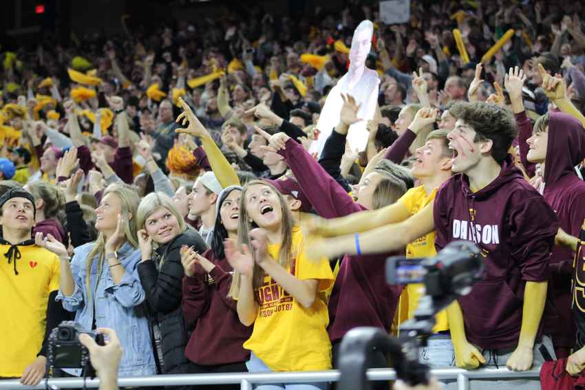 Davison fans celebrate during the division one state final against Brighton Saturday at Ford Field.