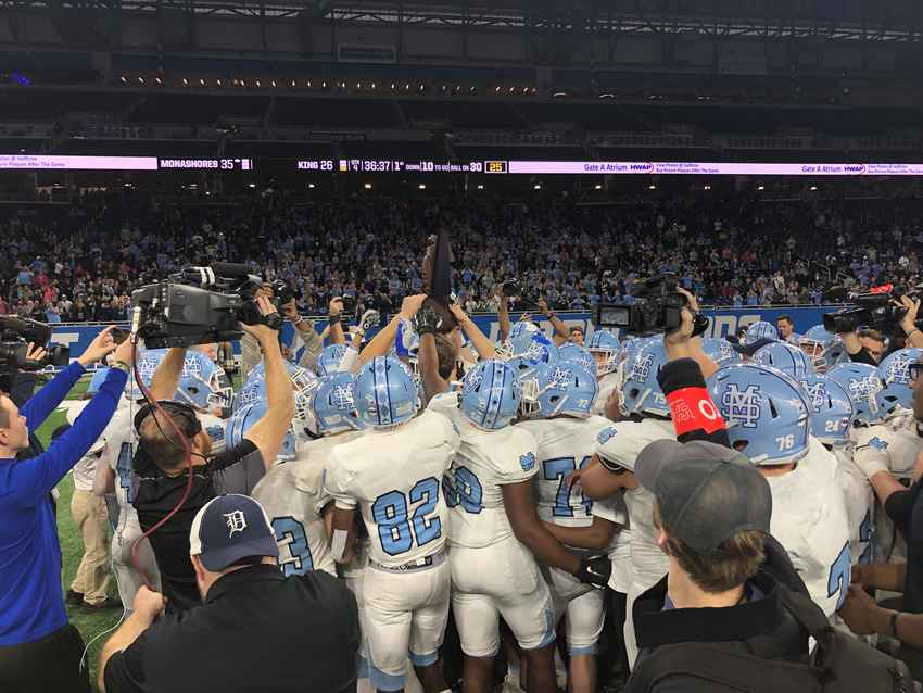 Muskegon Mona Shores celebrates after winning the MHSAA division two state title Friday at Ford Field.