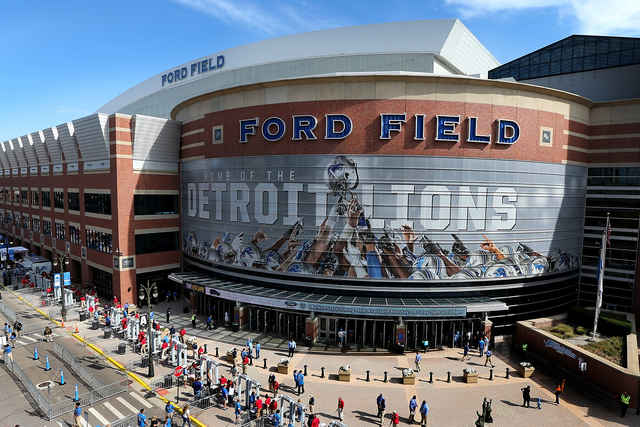 An outdoor shot of Ford Field.