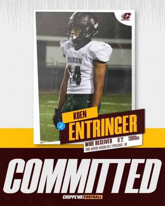 Ann Arbor Huron 2022 WR Koen Entringer has committed to Central Michigan