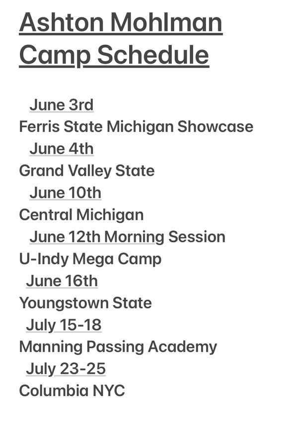 June 2021 Camp Schedule