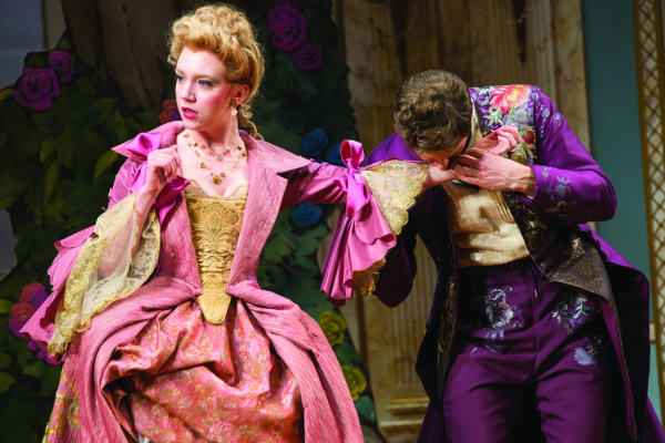 Amelia Pedlow as Lucille and Anthony Roach as Dorante in David Ives's The Metromaniacs, directed by Michael Kahn, at Washington, D.C.'s Shakespeare Theatre Company.