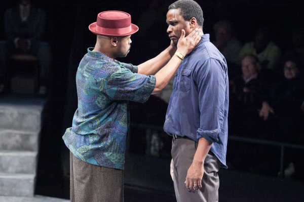 KenYatta Rogers as Mister and Bowman Wright as King in King Hedley II, directed by Timothy Douglas, at Arena Stage.