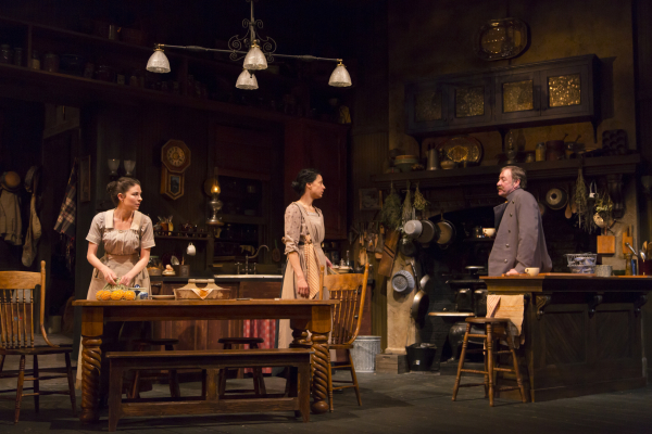 MacKenzie Meehan, Kathleen McElfresh, and Christopher Donahue in The Second Girl, directed by Campbell Scott, at Boston's Huntington Theatre Company.