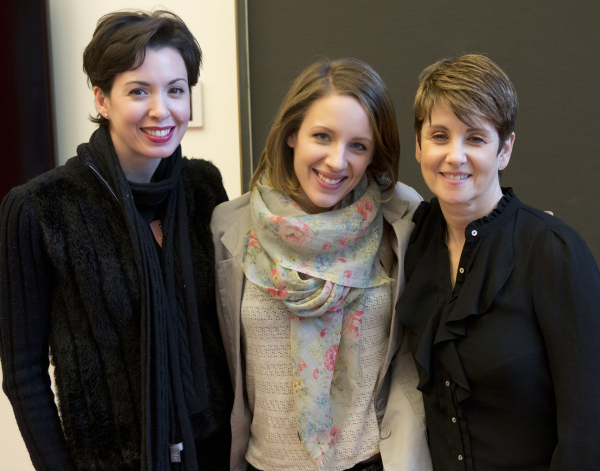 "Melissa Rae Mahon, Jessie Mueller and Leslie Stifelman in rehearsal for ""Take the Stage with Broadway Stars."""