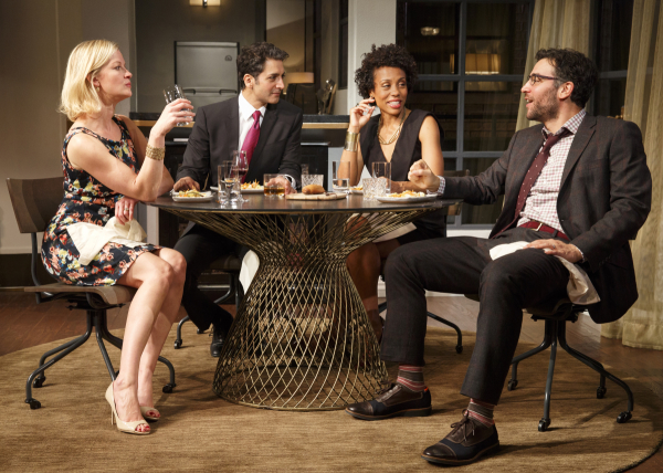 Gretchen Mol, Hari Dhillon, Karen Pittman, and Josh Radnor share a spirited dinner in Ayad Akhtar's Disgraced at the Lyceum Theatre.