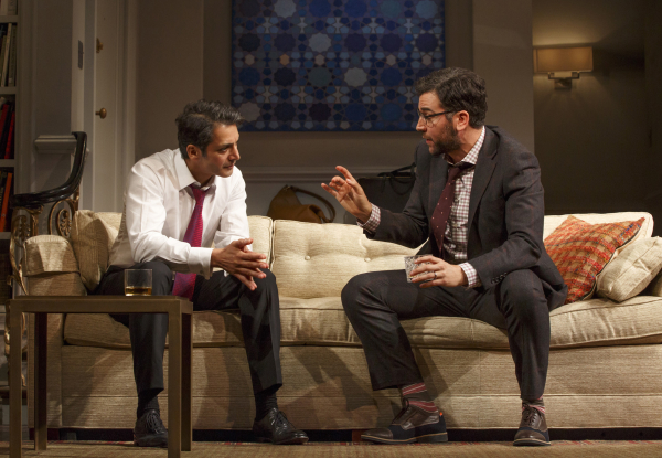 Hari Dhillon and Josh Radnor have a discussion in Disgraced on Broadway at the Lyceum Theatre.