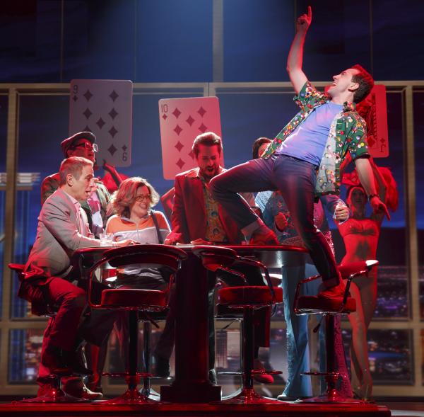 Tony Danza and Rob McClure play a game of poker in Broadway's Honeymoon in Vegas at the Nederlander Theatre.