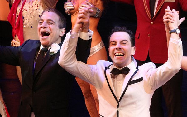 Tony Danza and Rob McClure take their bows on the opening night of Broadway's Honeymoon in Vegas at the Nederlander Theatre.