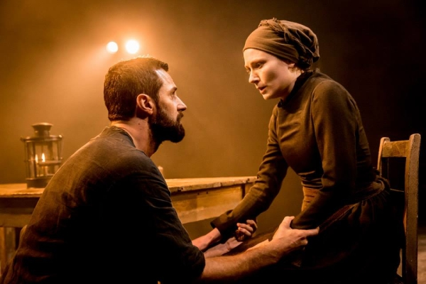 Richard Armitage as John Proctor and Anna Madeley in the Old Vic Theatre production of Arthur Miller's The Crucible, directed by Yaël Farber.