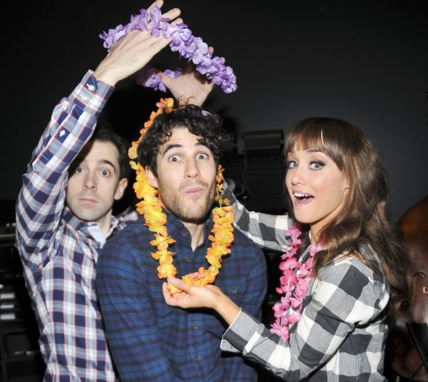 Honeymoon in Vegas stars Rob McClure and Brynn O'Malley adorn Darren Criss with a couple of honorary leis.