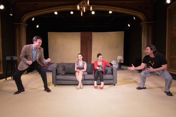 John Russell, Emily Dahlke, Megan O'Leary, and Joseph W. Rodriguez in Peter Sinn Nachtrieb's Hunter Gatherers, directed by Eric Tucker, at Duo Theatre.