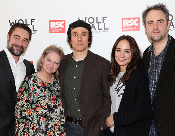 Wolf Hall stars Nathaniel Parker, Ben Miles, and Lydia Leonard pose with author Hilary Mantel (second from left) and director Jeremy Herrin (right).