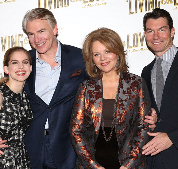 Living on Love stars Anna Chlumsky, Douglas Sills, Renée Fleming, and Jerry O'Connell get cozy for a photo.