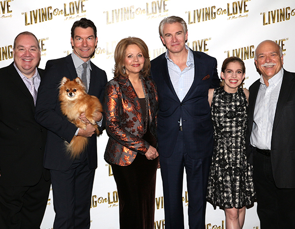 The Living on Love family: Blake Hammond, Jerry O'Connell (with Trixie), Renée Fleming, Douglas Sills, Anna Chlumsky, and Scott Robertson.