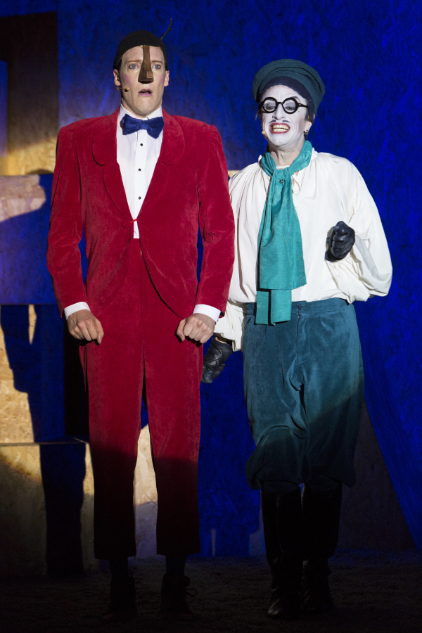 Nathan O'Keefe as Pinocchio and Paul Capsis as Stromboli.