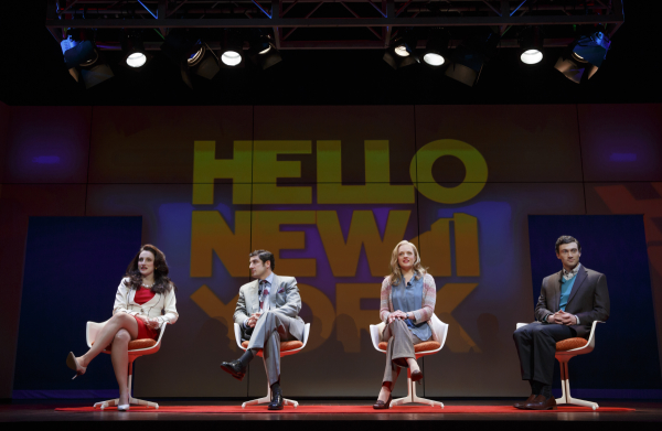 Tracee Chimo, Jason Biggs, Elisabeth Moss, and Bryce Pinkham in the Broadway revival of Wendy Wasserstein's The Heidi Chronicles, directed by Pam MacKinnon, at the Music Box Theatre.