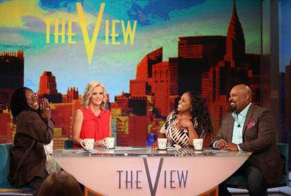 Whoopi Goldberg, Jenny McCarthy, Sherri Shepherd, and James Monroe Iglehart during Iglehart's last episode as cohost of ABC's The View.