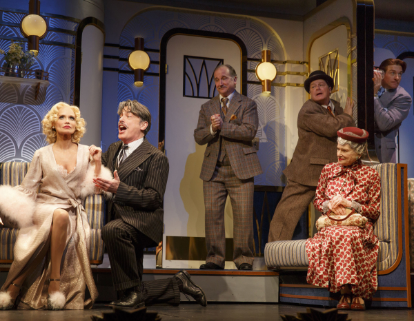 Kristin Chenoweth, Peter Gallagher, Mark Linn-Baker, Michael McGrath, Mary Louise Wilson, and Andy Karl star in On the Twentieth Century, directed by Scott Ellis, at the American Airlines Theatre.