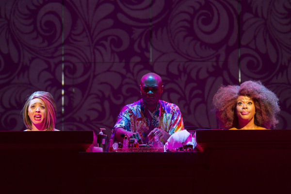 Shayna Small, Nathan Lee Graham, and Capathia Jenkins in George C. Wolfe's The Colored Museum, directed by Billy Porter, at the Huntington Theatre Company.