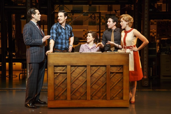 Paul Anthony Stewart, Scott J. Campbell, Chilina Kennedy, Jarrod Spector, and Jessica Keenan Wynn in a scene from Broadway's Beautiful — The Carole King Musical.
