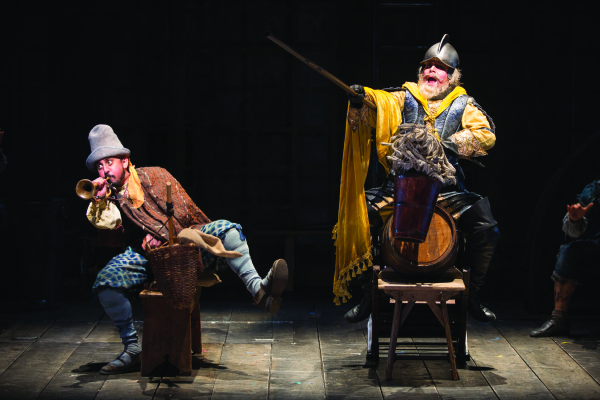 Nehal Joshi as Sancho and Anthony Warlow as Don Quixote in Man of La Mancha,  directed by Alan Paul, at the Shakespeare Theatre Company.