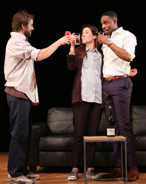 Michael Stahl-David, Tessa Ferrer, and Grantham Coleman share a toast in Buzzer.