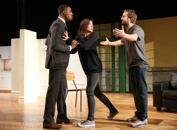 Grantham Coleman, Tessa Ferrer, and Michael Stahl-David star in Tracey Scott Wilson's Buzzer, directed by Anne Kauffman, at The Public Theater.