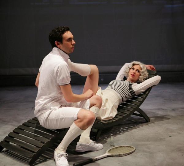 Patrick Varner and Samantha Richert in City of Angels, directed by Spiro Veloudos, at Boston's Lyric Stage Company.