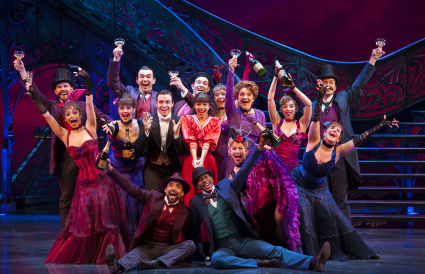 In center (l-r) Corey Cott as Gaston Lachaille, Vanessa Hudgens as Gigi, Victoria Clark as Mamita in the new Broadway production of Gigi, directed by Eric Schaeffer, at the Neil Simon Theatre.