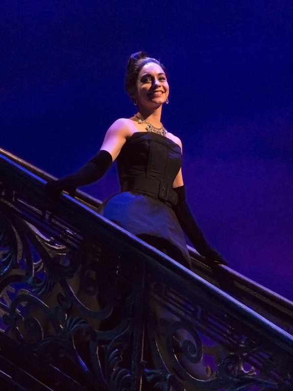 Vanessa Hudgens comes down the grand staircase on the stage of the Neil Simon Theatre to take her bow on the opening night of Gigi.