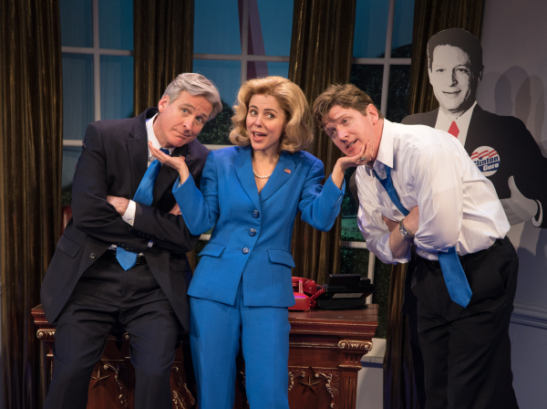Tom Galantich, Kerry Butler, and Duke Lafoon star in Paul and Michael Hodge's Clinton The Musical, directed by Dan Knechtges, at New World Stages.