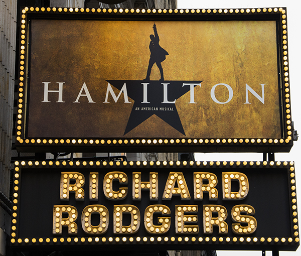 The new Hamilton signage at the Richard Rodgers Theatre.
