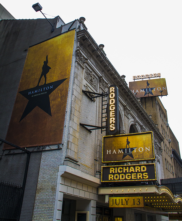Hamilton comes to Broadway's Richard Rodgers Theatre beginning July 13.