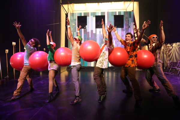 The members of Flip FabriQue in Catch Me!, directed by Olivier Normand, at the New Victory Theater.