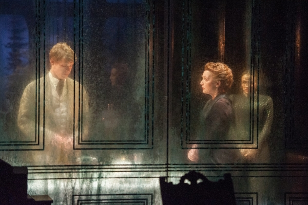 Billy Howle as Oswald, Lesley Manville as Helene, and Charlene McKenna as Regina in the Almeida Theatre production of Henrik Ibsen's Ghosts, adapted and directed by Richard Eyre, at BAM.