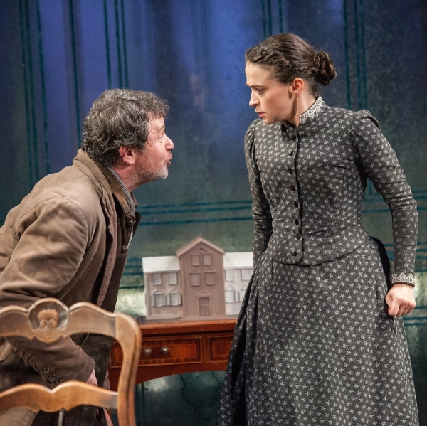 Brian McCardie as Jacob Engstrand and Charlene McKenna as Regina Engstrand in Ibsen's Ghosts at BAM.
