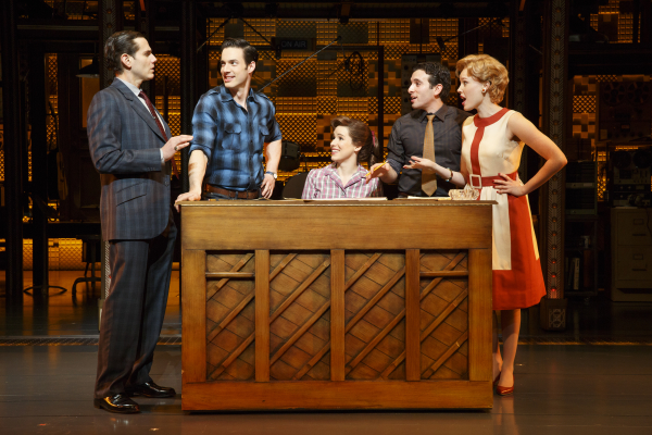 Paul Anthony Stewart, Scott J. Campbell, Chilina Kennedy, Jarrod Spector, and Jessica Keenan Wynn in Beautiful — The Carole King Musical, directed by Marc Bruni, at The Stephen Sondheim Theatre.