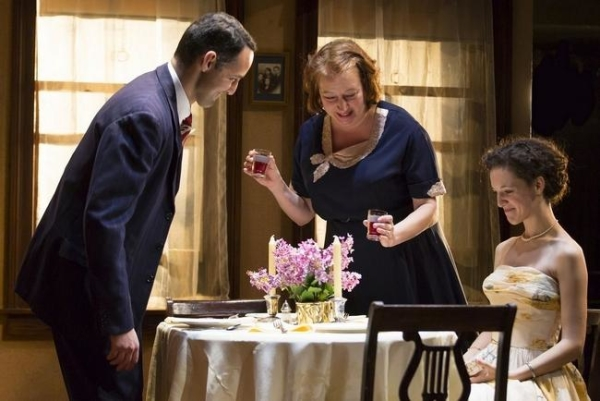 Nael Nacer, Adrianne Krstansky, and Marie Polizzano in William Inge's Come Back, Little Sheba, directed by David Cromer, at Boston's Huntington Theatre Company.