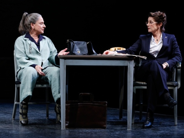 Patti LuPone and Debra Winger in the Broadway production of The Anarchist at the John Golden Theatre in 2012.