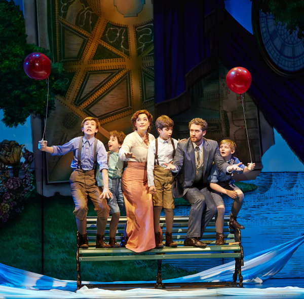Sawyer Nunes, Alex Dreier, Laura Michelle Kelly, Aidan Gemme, Matthew Morrison, and Christopher Paul Richards in Finding Neverland at the Lunt-Fontanne Theatre.