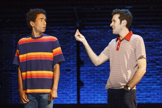 Kyle Beltran and Adam Chanler-Berat in Michael Friedman and Itamar Moses' The Fortress of Solitude at the Public Theater.