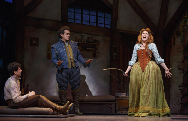 John Cariani, Brian d'Arcy James, and Heidi Blickenstaff in a scene from the new Broadway musical Something Rotten!