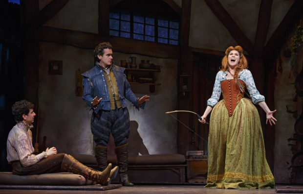 John Cariani, Brian d'Arcy James and Heidi Blickenstaff in Something Rotten! at the St. James Theatre.