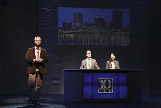 Brendan Griffin, Josh Stamberg, and Elizabeth Rodriguez in Stephen Belber's The Power of Duff, directed by Peter DuBois, at the Geffen Playhouse.
