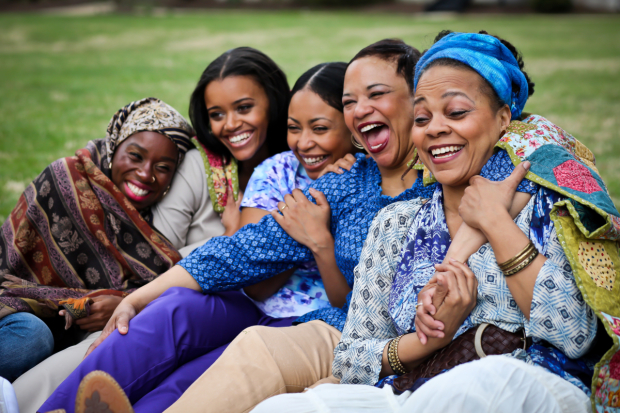 The cast of The Blood Quilt: Afi Bijou, Meeya Davis, Nikiya Mathis, Caroline Clay, and Tonye Patano in Katori Hall's The Blood Quilt, directed by Kamilah Forbes at Arena Stage at the Mead Center for American Theater.